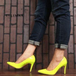 HOT🔥 Pointed Toe Neon Yellow Hi-Heel Pump Sandals